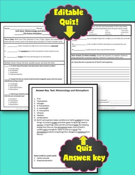Meteorology and Atmosphere Unit Editable Assessments- Earth Science