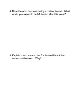 Meteors Common Core Reading and Writing Activity