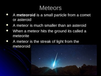 Meteors and Comets Lesson