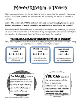 Meter And Rhythm In Poetry Made Easy By You Can Do This Music With Laura Lea Meter is the rhythm of syllables in a line of verse or in a stanza of a poem. meter and rhythm in poetry made easy