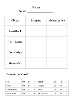 Meters Worksheet - Ontario - Free