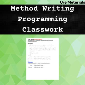 Method Writing Classwork - Programming
