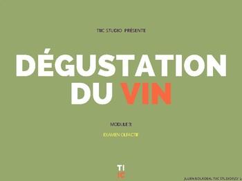 Méthode TIIC Studios Apprendre le français du vin MODULE 3 EXAMEN OLFACTIF