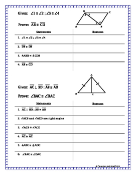 Triangles - Proving Triangles Congruent Missing Reasons Proof Prac.