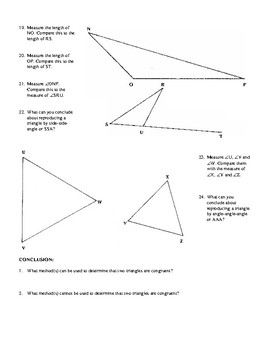 Methods for Showing Triangles Congruent Activity