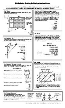 Methods for Solving Multiplication Problems