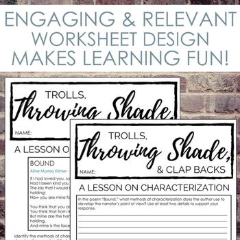 Methods of Characterization Worksheets for Secondary ELA