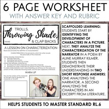 Distance Learning: Methods of Characterization Worksheets for Secondary ELA