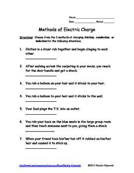 Methods of Charge Worksheet