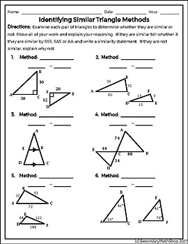 Methods of Proving Triangles Similar Quick Check FREEBIE! | TpT
