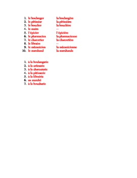 Métiers et magasins (Jobs and Stores in French) Worksheet