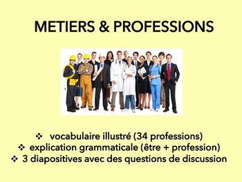 Métiers et professions, vocabulary introduction & speaking activity in French
