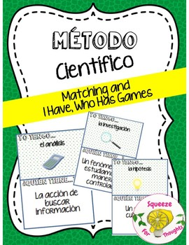"""Método Científico (Scientific Method Matching and """"I Have, Who Has?"""" Games)"""