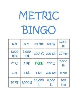 Metric Bingo Boards