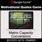 Metric Capacity Conversions | Motivational Quotes Game | G