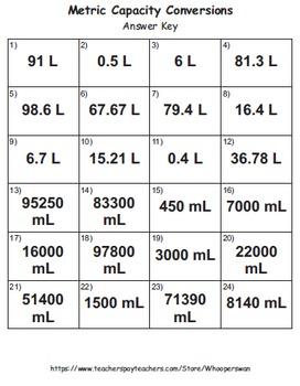 Metric Capacity Conversions Task Cards