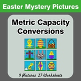 Metric Capacity Conversions (mL & L) - Easter Math Mystery Pictures