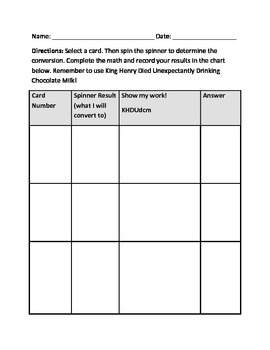 Metric Conversion Cards and Game