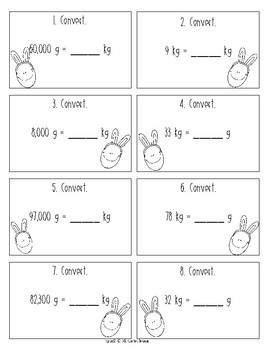 Metric Conversion Easter Egg Hunt - Mass