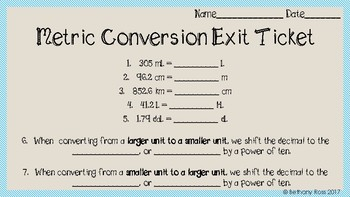 Metric Conversion Exit Ticket