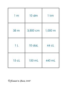 Metric Conversion Memory (meters, liters, and grams)