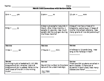 Metric Conversion Practice with Mixed Review