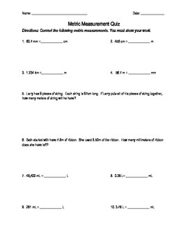 Metric Conversion Quiz