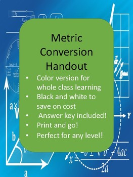 Metric Conversion Staircase Handout