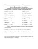 Metric Conversion Worksheet
