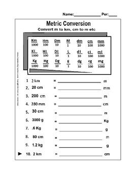 Metric Conversion (Easy) - Km to M, M to Cm, Kg to grams etc ...