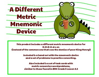 Metric Conversions- A Different Mnemonic Device