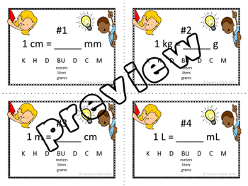 Metric Conversions Flash Cards
