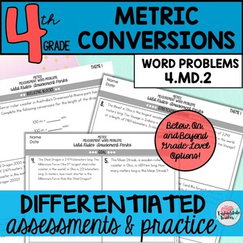 Metric Conversions Word Problems Differentiated Assessments