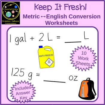 Standard And Metric Unit Conversion Worksheets With Story Problems