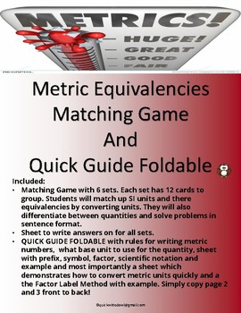 Metric Equivalencies Matching Game And Quick Metric Conversion Guide Foldable