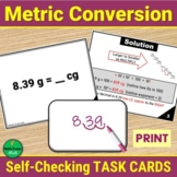 Metric Conversion Self-Correcting Task Cards - Length Only