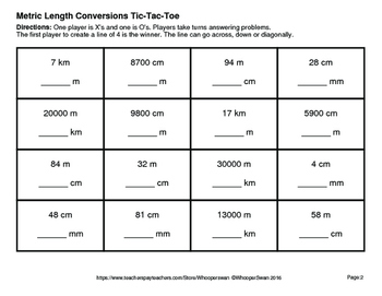 Metric Length Conversions Tic-Tac-Toe