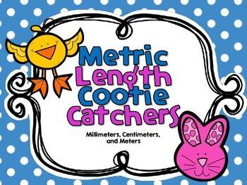 Metric Length Cootie Catchers-Millimeters, Centimeters, an