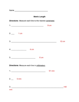 Metric Length Quiz