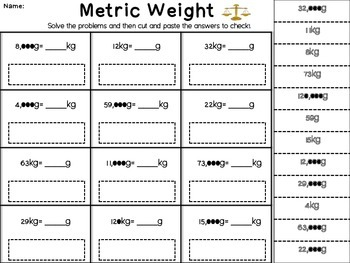 Metric Length, Capcity, and Weight- Cut and Solve