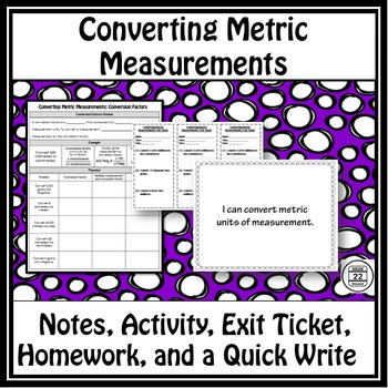 Metric Measurement Notes and Activity