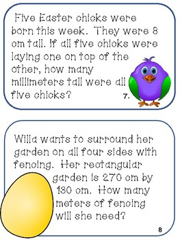 Metric Measurement Conversions Task Cards Easter Egg