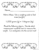 Metric Measurement Cut/Paste- Mass- Math in Focus Chapter