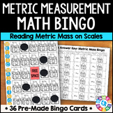 Metric Measurement Game: Reading Metric Mass on a Scale Bingo {3.MD.2, 4.MD.2}
