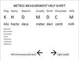 Metric Measurement Help Sheet