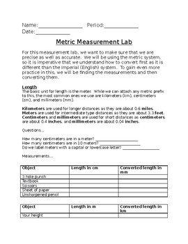 Metric Measurement Lab (Length, mass, volume, and temperature)