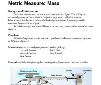 Metric Measurement Labs (3) + Mass, Volume, Length Worksheets Bundle