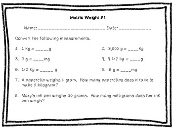 Metric Measurement: Mass Task Cards with QR Codes and printables