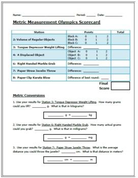 Metric Measurement Olympics:  Metric Measurement Lab Stations