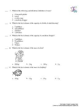 Metric Measurement Practice Quiz
